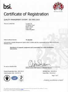 Certificate of Registration - Quality Management System - ISO 9001 - Expiry date 21-09-2022